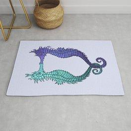 Kissing Seahorses - blue Rug