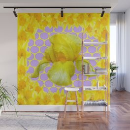 ABSTRACT YELLOW SPRING IRIS GOLDEN DAFFODILS FRAME Wall Mural