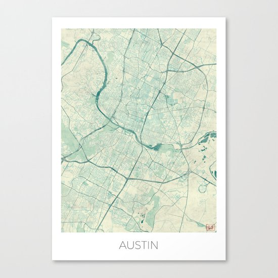 Austin Map Blue Vintage Canvas Print