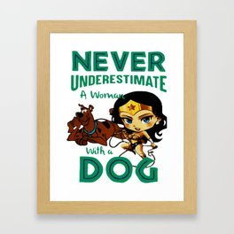woman with a dog Framed Art Print