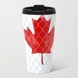 Rustic Canada Flag behind Chain Link Fence Travel Mug