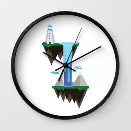 Floating islands with lighthouse Wall Clock