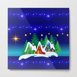 Christmas, Home for the Holidays Midnight Blue, Holiday Fantasy Collection Metal Print