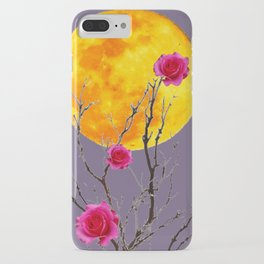 SURREAL FULL MOON & PINK WINTER ROSES iPhone Case