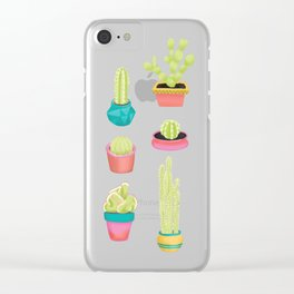 Cacti Family Portrait Clear iPhone Case