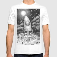 Running Away From Home In A Rocket Ship Mens Fitted Tee White MEDIUM