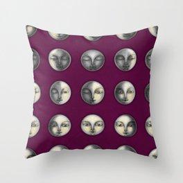 moon phases on dark purple Throw Pillow