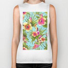 Tropical flowers with parrots Biker Tank