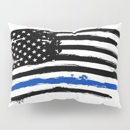 Thin blue line US flag. Flag with Police Blue Line - Distressed american flag. Pillow Sham
