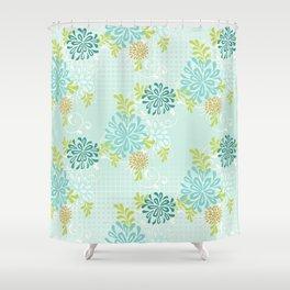 Bold Graphic Mod Mum Modern Chrysanthemum Floral Flower Aqua Blue Shower Curtain