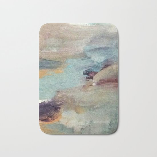 Gentle Beauty [5] - an elegant acrylic piece in deep purple, red, gold, and white Bath Mat
