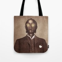creepy Tote Bags featuring Baron Von Three PO  by Terry Fan