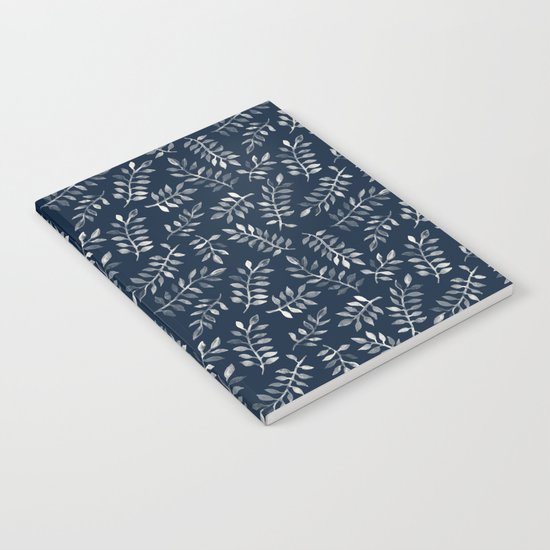 White Leaves on Navy - a hand painted pattern Notebook