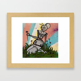 Robot Chick with Flower Framed Art Print