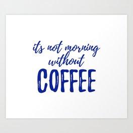 Navy - Morning Coffee Art Print