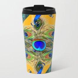 GREY SITTING BLUE PEACOCKS  GOLDEN FEATHER DESIGN Travel Mug