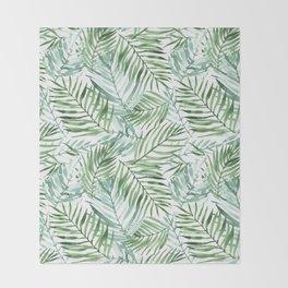 Watercolor palm leaves pattern Throw Blanket