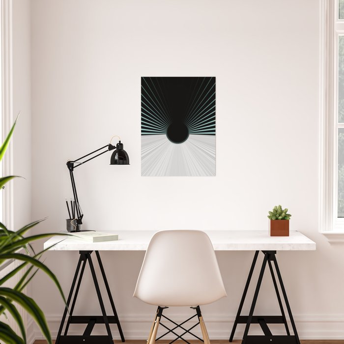 White and Black with Teal Accents Poster