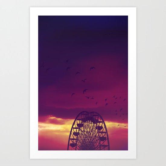 Ferris Wheel Sunset Art Print