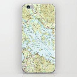 Lake Winnipesaukee Map (1986) iPhone Skin