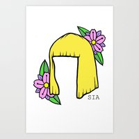amy sia Art Prints featuring SIA BOB by Melina Espinoza