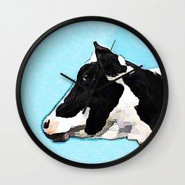 Black and White Cow - Blue Sky - Farm Cow Wall Clock
