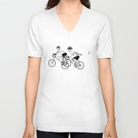 cycling V-neck T-shirts featuring Keep Cycling by Drew Linne