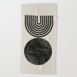Woodblock Print, Modern Art Beach Towel