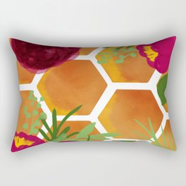 Honeycomb and Flowers Rectangular Pillow