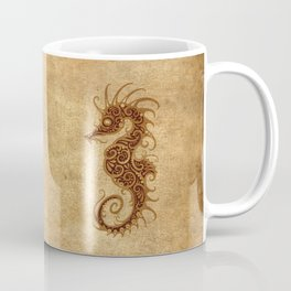 Aged Vintage Intricate Tribal Seahorse Design Coffee Mug