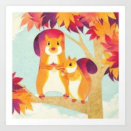 Shanti Sparrow: Jimmy and Kit the Squirrels Art Print