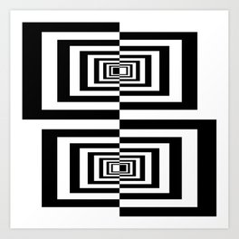 Black And White Geometric Abstract Patten Art Print