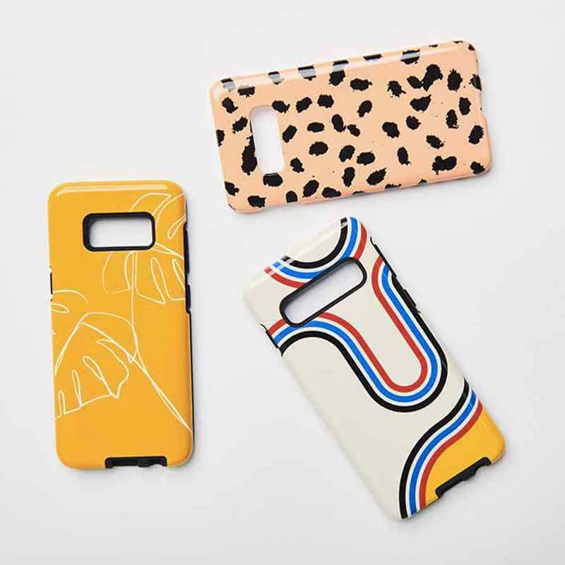 3 Android phone cases in geometric deisgns