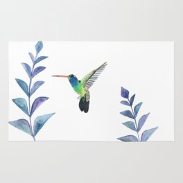 Hummingbird with tropical leaves watercolor design Rug