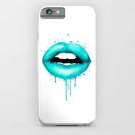 Turquoise Lips Art Makeup Decor Watercolor Print Kiss Love Sexy Girl Fashion Poster Lipstick iPhone Case