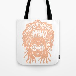 Open Your Mind in orange Tote Bag