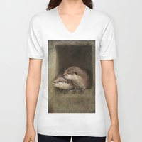 otters V-neck T-shirts featuring The curious otters by Pauline Fowler ( Polly470 )