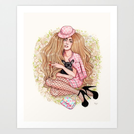 Lady and Her Pup Art Print