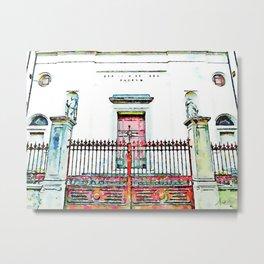 Fognano: church facade behind red gate Metal Print