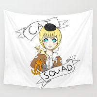 shingeki no kyojin Wall Tapestries featuring Cat Squad (Armin) by neadevar