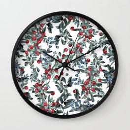 Festive Christmas Berries Pattern Wall Clock