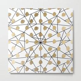 Black faux gold geometrical chic polka dots Metal Print