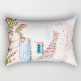 Santorini Greece Mamma Mia Pink House Travel Photography in hd. Rectangular Pillow