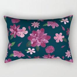 Burgundy Blush Floral Pattern Rectangular Pillow