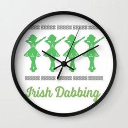 Funny Irish Dancing Gift Design For Girls   Dabbing Irish Dancer Wall Clock