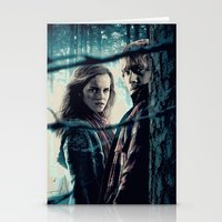 hermione Stationery Cards featuring H. Potter - Hermione & Ron by Juniper Vinetree