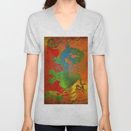 """ The powerful dragon does not manage to overcome the local tyrant "" Unisex V-Neck"
