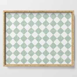 Rustic Farmhouse Checkers in Sage Green and White Serving Tray