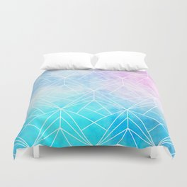 Geometric White Pattern on Watercolor Background Duvet Cover