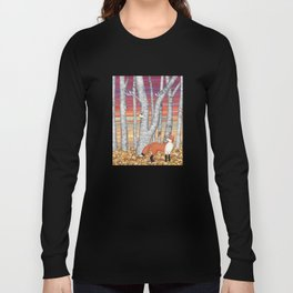 nuthatches and fox in the birch forest Long Sleeve T-shirt